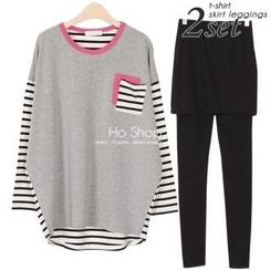 Ho Shop - Set: Piped Loose-Fit Top + Inset Skirt Leggings