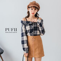 PUFII - Off-Shoulder Plaid Shirt