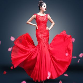 YACCA - Lace Panel Sleeveless Mermaid Wedding Dress