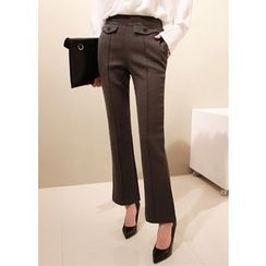 J-ANN - Seam-Front Boot-Cut Dress Pants
