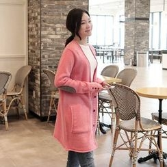 CLICK - V-Neck Elbow-Patch Cardigan