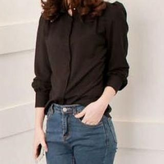 JVL - Embroidered-Collar Chiffon Blouse