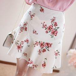 MyFiona - Ruffled Floral Print Mini Skirt