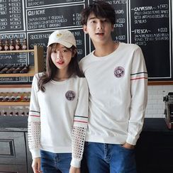 Azure - Couple Matching Embroidered Striped Pullover