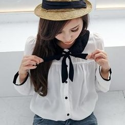 BAIMOMO - Layered Crochet-Collar Chiffon Blouse