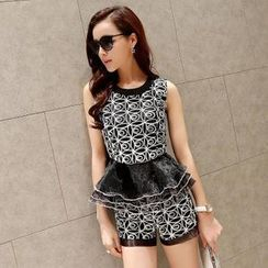 AiSun - Set: Patterned Peplum Top + Shorts