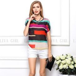 LIVA GIRL - Short-Sleeve Chiffon Top