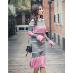 GUMZZI - Set: Color-Block Knit Top + Skirt