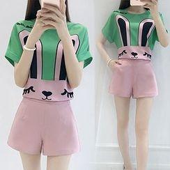 Ashlee - Set: Rabbit Printed Short-Sleeve Top + Shorts
