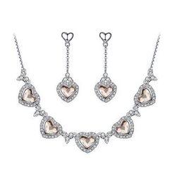 伊泰莲娜 - 套装: 施华洛世奇元素水晶心形项链 + 耳坠