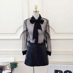RUI - Tie-Neck Embellished Sheer Blouse