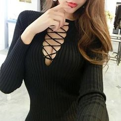 Silkfold - Cross Front Knit Bodycon Dress