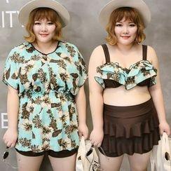 Goldlyre - Set: Print Swim Top + Ruffle Skirt + Dress