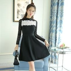 Emeline - Lace Panel Collared A-Line Dress