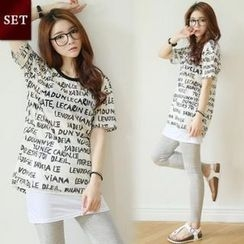 GLAM12 - Set: Round-Neck Lettering Mesh T-Shirt + Inset Skirt leggings