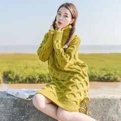 Moriville - Turtleneck Dip-Back Knit Dress