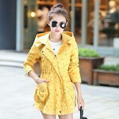 CASSY - Printed Hooded Zip Coat