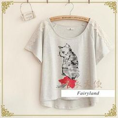 布衣天使 - Lace-Trim Cat Print T-Shirt