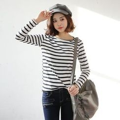 Envy Look - Scoop-Neck Stripe T-Shirt
