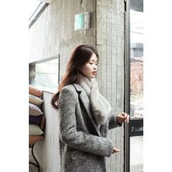 CHERRYKOKO - Notched-Lapel Wool Blend Mélange Coat