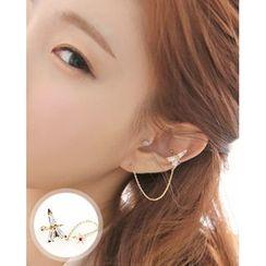 Miss21 Korea - Earring with Eiffel Tower Ear Cuff