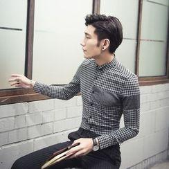 Simsam - Contrast Panel Gingham Long-Sleeve Shirt