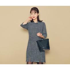 HOTPING - 3/4-Sleeve Tweed Dress