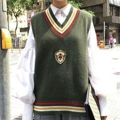 Dute - Contrast Trim V-Neck Knit Vest