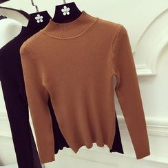 Honeydew - Plain Mock-neck Knit Top