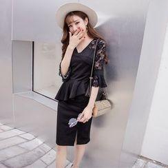 Louise - Lace Panel Elbow Sleeve Peplum Dress