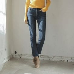 JUSTONE - Fray-Hem Washed Straight-Cut Jeans