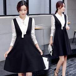 Rosemax - Set: Long Sleeve Silm-Fit Shirt + High-Waist Tank Dress