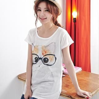 BAIMOMO - Short-Sleeved Cat Print T-Shirt