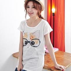 BAIMOMO - Short-Sleeved Cat Print T-Shirt