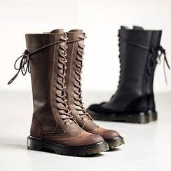 MIAOLV - Faux Leather Lace Up Boots
