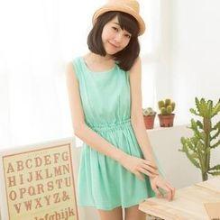 Tokyo Fashion - Frilled Gathered-Waist Sleeveless Dress