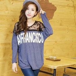 YoungBaby - Lace-Panel Loose-Fit Top