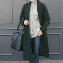 DANI LOVE - Notched-Lapel Wool Blend Long Coat