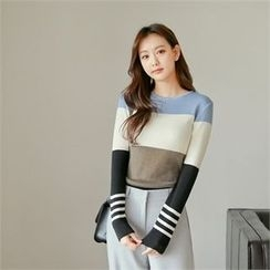 Styleberry - Round-Neck Color-Block Knit Top
