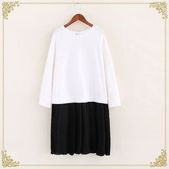 Fairyland - Two-Tone Long-Sleeve Chiffon Dress