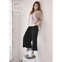 GOROKE - Accordion-Pleat Velvet Wide-Leg Pants