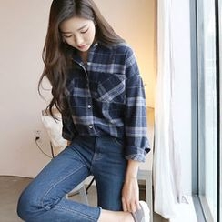 Hello sweety - Dual-Pocket Plaid Shirt