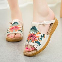 Diosa - Flower Embroidered Slide Sandals