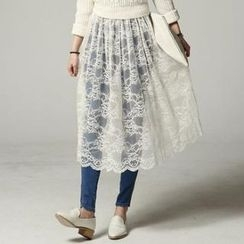SARAH - Band-Waist Sheer Lace Maxi Skirt
