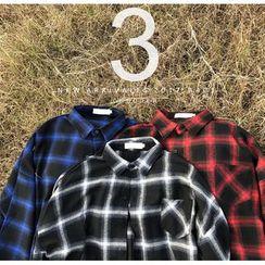 Bestrooy - Plaid Drop Shoulder Shirt