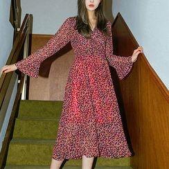 chuu - Tie-Waist Pattern Chiffon Midi Dress
