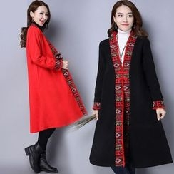 Diosa - Embroidered Fringed Long Coat