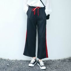 SUYISODA - Contrast Trim Wide Leg Pants