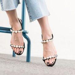 VIVIER - Faux-Pearl Ankle-Strap Sandals