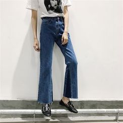 SUYISODA - Two-Tone Boot Cut Pants